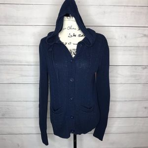 3/$15 Navy blue hooded cardigan sweater M